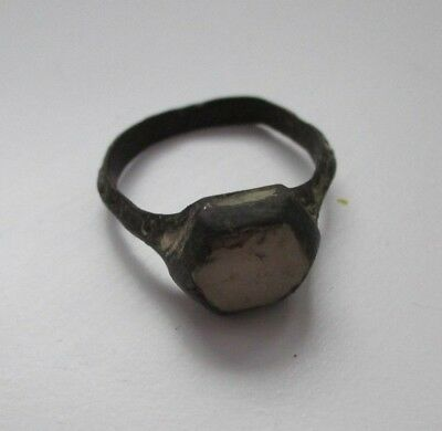 Ancient bronze ring with enemal and with big stone Middle Ages original