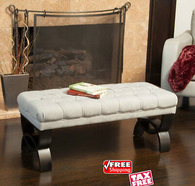 UPHOLSTERED TUFTED OTTOMAN Bench Entryway Bedroom Accent ...