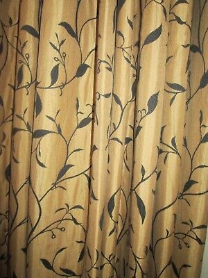 1 pair good quality long gold and black leaf design lined pinch pleated curtains