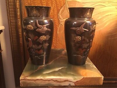Pair Stanning Japanese Mixed Metal Bronze Vases Fine  Bird Scene Meiji 19th Cen