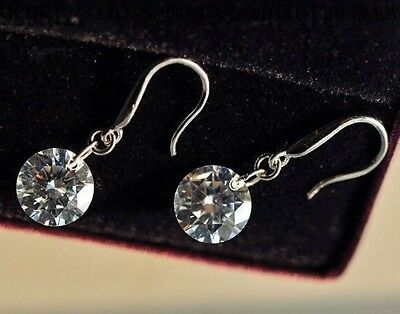 925 Sterling Silver Plated Crystal Dangle Earrings + Free Gift Bag.