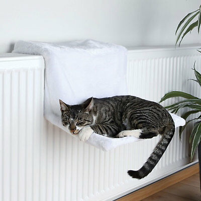 Trixie Radiator Cat Bed Plush White Wool Stable Metal Frame Cosy Soft Kitten