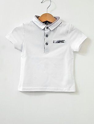 Baby Boys River Island Mini Boys Grey and White Smart Polo Shirt 0-3 Months up t