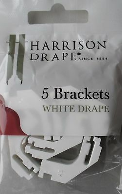 Harrison Drape White Drape Curtain Track Plastic Brackets & Screws pack of 5