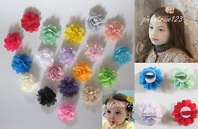 "Pair of 2"" Baby Girls Chiffon Fabric Flower Hair Clips Grips Slides Bobbles"