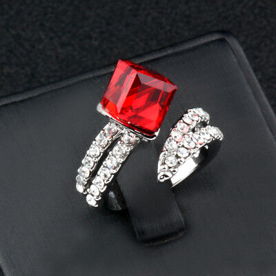 Big Red Square Crystal Engagement Cubic Zirconia Rings White Gold Plated Jewelry
