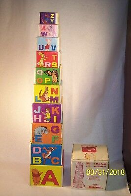 1970's Winnie The Pooh Sears Nesting Cardboard ABC/123 Blocks W/Original Box