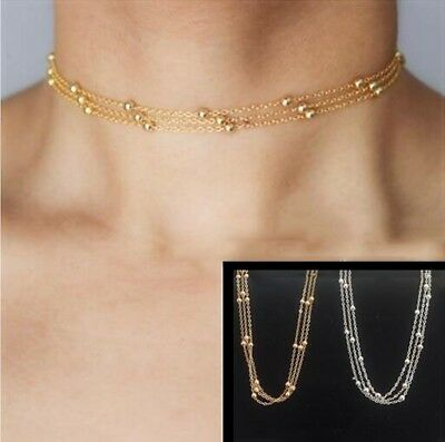 NEW Bead Pendant Charm Gold Silver 3 Layer Choker Necklace Chain Women Jewelry