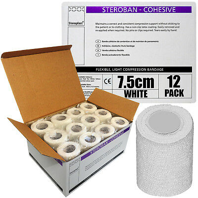Full Box 7.5cm x 4.5m Steroplast Cohesive First Aid White Medical Tape Wrap