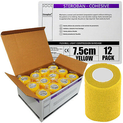 12 Rolls 7.5cm Yellow Steroban Cohesive First Aid Medical Bandage Wrap Tape