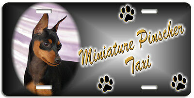 Miniature Pinscher black & tan Taxi Line License Plate (( LOW CLEARANCE PRICE ))