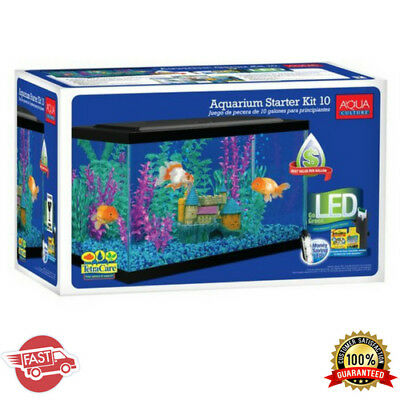 Aquarium Starter Kit W/ LED 10 Gallon Aqua Fish Water Tank Tetra Internal Filter
