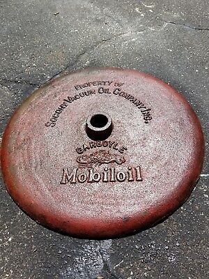 Vintage 1920's Era Mobil Oil-Gargoyle Lollipop Sign Base-Vacuum Co/cast Iron