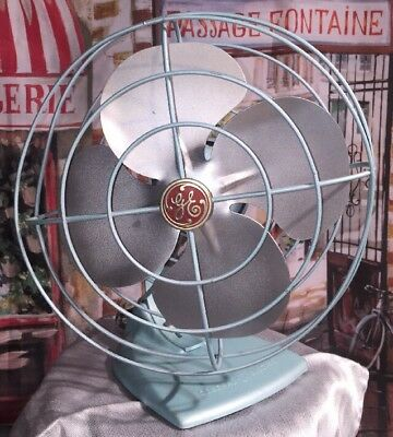 Vintage GE 1950s Table Fan Robins Egg Blue 7 White Works Metal Blades