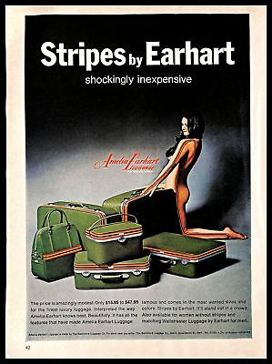 1971 Amelia Earhart Luggage Vintage PRINT AD Stripes Travel Naked Woman 1970s