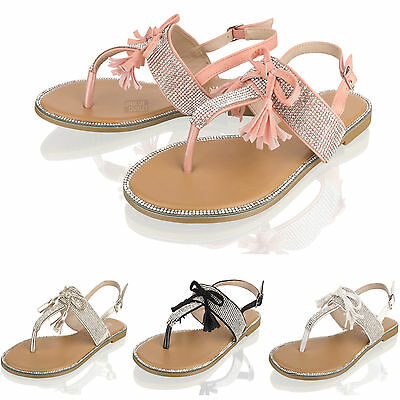 e901f041071ee Womens Ladies Summer Sandals Diamate Flat Bow Holiday Beach Party Shoes Size