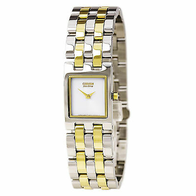 Citizen Eco-Drive Women's EX1304-51A Jolie Rectangle Case Two-Tone 18mm Watch