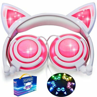 iGeeKid [Upgraded Version] Cat Ear Kids Headphones Rechargeable LED Light Up