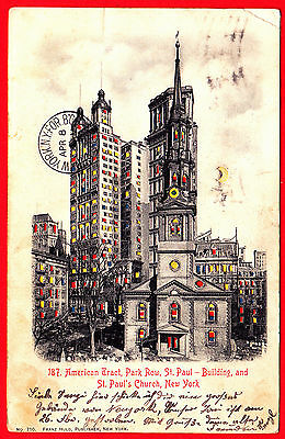 A1707) Halt gegen das Licht American Tract Park Row. St. Paul New York gel. 1903