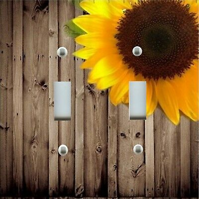 Light Switch Plate Cover RUSTIC HOME DECOR YELLOW SUNFLOWER ON RUSTIC WOOD BARN