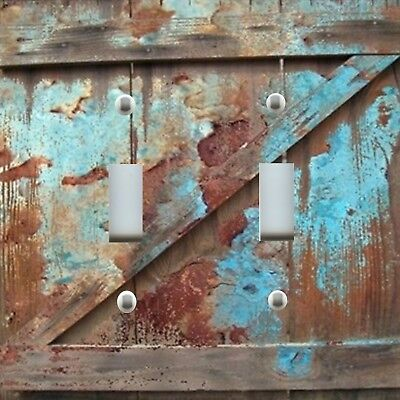 Light Switch Plate Cover RUSTIC HOME DECOR OLD BARN DOOR SPATTERED PAINT