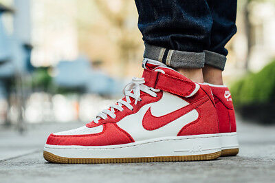 MENS NIKE AIR Force 1 07 Mid Rare Sneakers New, Red Denim ...