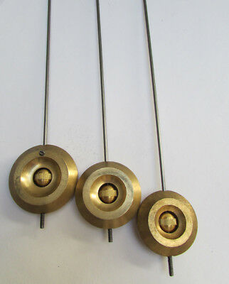 New Solid Brass French Clock Pendulum and Rod - Choose from 3 Bob Sizes!