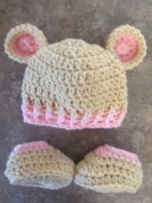 Crochet Newborn - 3 Month Baby Bear Hat & Booties Photo Prop Shower Gift Girl