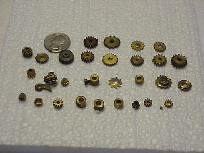 30 Small Used Brass Clock Parts & Gears Steampunk Altered Art Projects part repK