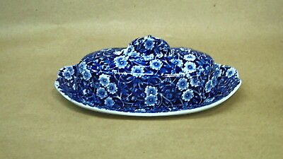 Staffordshire CALICO BLUE (crownford backstamp) COVERED 1/4 LB BUTTER