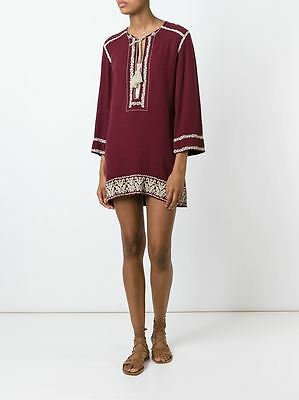 84a7106a131 NWT ISABEL MARANT ETOILE Folkloric Embroidered Varyia Tunic Dress Wine Ecru  34