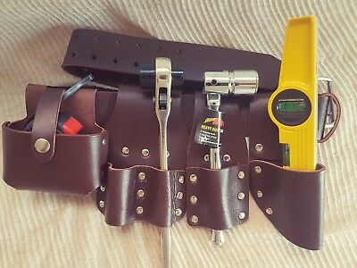 Scaffolding Brown Leather TooL Belt Double Spanner Level Tape Holder Tools Set