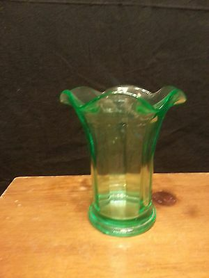 Vintage Uranium Green Glass Vase Vaseline beautiful! See pics for size