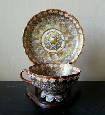 Antique Japanese Meiji Period Thousand Faces Footed Cup And Saucer With Mark