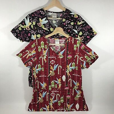 8abd1974bbc Disney Tinker Bell Women's XS Scrub Top Lot Holiday Christmas Valentines  Day EUC