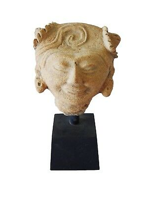600-800 AD Pre-Columbian Late Classic Clay Head Fragment on Stand (Mod)