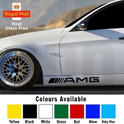 For Mercedes Benz AMG 2x Side Skirt Stickers Car Decals Graphics A C Class Vinyl