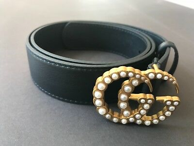 0d431f0f4 AUTHENTIC LEATHER BELT with pearl Double G Buckle Gucci Size (80 ...