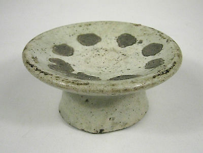 Asian Ceramic Bowl Stand Pottery Clay White Glazed Earthenware Footed