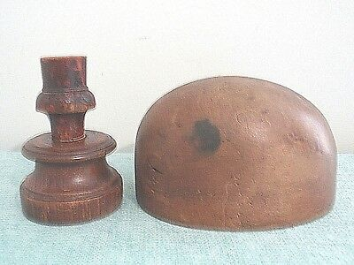 Charming Antique Wooden Hat Block Form with Stand 55cm Millinery/Shop Display