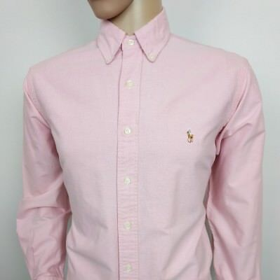 Ralph Lauren Mens Dress Shirt Pink Oxford Collar Vintage 90s Size 16 Chest 46""