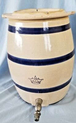 Vintage Blue Crown USA 2 Gallon Stoneware Crock with Lid and Spout