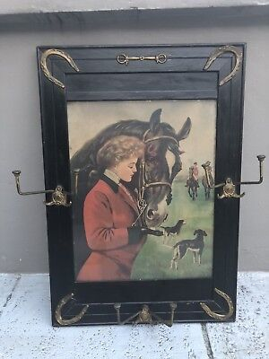 Antique Framed Equestrian Hat / Coat Rack Brass Horse Shoe Polo Pony Picture