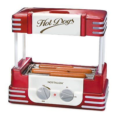 Retro Hot Dog Roller Cooker Electric Grill Machine Hot Dog Bun Warmer Steamer