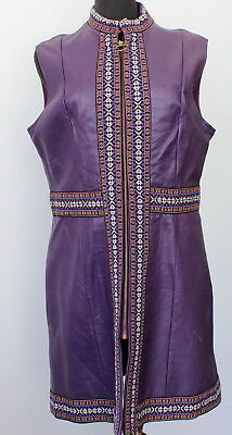 vintage 60s 70s PURPLE faux leather EMBROIDERED DRESS go-go MOD