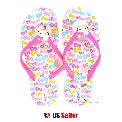 3bc659680 SANRIO HELLO KITTY Adult Slippers/Flip Flops: Ribbons One-size ...