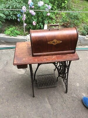 Antiqu Singer Sewing Machine With Iron And Documents