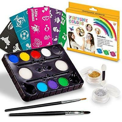 Face painting kits. Free 40 Stencils Included. Use for Body Painting, Birthday,