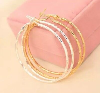 Womens Silver Or Gold Plated Large 60mm Diamond-Cut Round Hoop Earrings E19