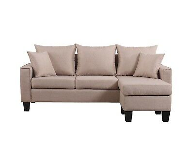 Modern Linen Fabric Small Space Sectional Sofa With Reversible Chaise,  Apricot